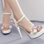 รองเท้าส้นสูงแต่งดอกไม้สีชมพู/ดำ/ขาว ไซต์ 34-39 thumbnail 3