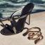 รองเท้าส้นสูงแบบสวมสวยเก๋สีดำ ไซต์ 34-39 thumbnail 4
