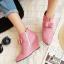 รองเท้าส้นเตารีดปลายแหลมสีชมพู/ดำ/เขียว ไซต์ 34-43 thumbnail 4
