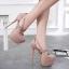 รองเท้าส้นสูงหัวมนสีชมพู/ดำ ไซต์ 34-40 thumbnail 4