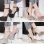 รองเท้าส้นสูงเกร็ดเพชรแน่นสีดำ/ขาว/เงิน/ทอง/แชมเปน ไซต์ 34-39 thumbnail 1