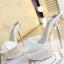 รองเท้าส้นสูงส้นแก้วคริสตัลแบบสวมสีทอง/ขาว ไซต์ 34-39 thumbnail 7