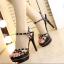 รองเท้าส้นสูงสีชมพู/ดำ ไซต์ 34-39 thumbnail 4