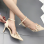 รองเท้าส้นสูงปลายแหลมแต่งมุขสวยหรูใส่ออกงานได้เลย สีครีม/ดำ ไซต์ 34-38 thumbnail 4