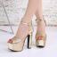 รองเท้าส้นสูงส้นหนาสีเงิน/ทอง ไซต์ 34-39 thumbnail 4