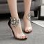 รองเท้าส้นสูงแต่มุขและคริสตัลที่สายรัดข้อสวยหรูสีดำ ไซต์ 35-40 thumbnail 2