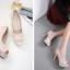 รองเท้าส้นสูงคัดชูผ้าลูกไม้ติดเพชรสีชมพู/ดำ ไซต์ 34-39 thumbnail 5