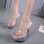 รองเท้าส้นแก้วใสเล่นระดับสีด้านในส้นแต่งเกร็ดเพชรสีแดง/ดำ/ขาว ไซต์ 34-40 thumbnail 6