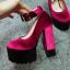 รองเท้าส้นสูงสีชมพู/ดำ ไซต์ 34-38 thumbnail 7