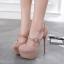 รองเท้าส้นสูงหัวมนสีชมพู/ดำ ไซต์ 34-40 thumbnail 5