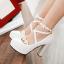 รองเท้าส้นสูงแต่งดอกไม้น่ารักๆสีชมพู/ขาว/ดำ ไซต์ 34-43 thumbnail 6
