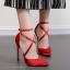รองเท้าส้นสูงผ้าลินินเรียบแต่หรูสีดำ/แดง/ชมพูนู๊ด ไซต์ 35-40 thumbnail 4