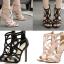 รองเท้าส้นสูงสายไขว้สีชมพู/ดำ ไซต์ 35-40 thumbnail 1