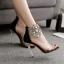 รองเท้าส้นสูงแต่มุขและคริสตัลที่สายรัดข้อสวยหรูสีดำ ไซต์ 35-40 thumbnail 1