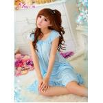 SC006-Romantic Ruffled Rayou Chemise ชุดนอนน่ารัก สีฟ้าสวยหวาน ปนเซ็กซี่
