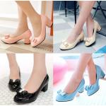 รองเท้าส้นสูง ไซต์ 34-43 สีขาว สีดำ สีฟ้า สีชมพู