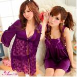 SC013-Tender Consolation Wrap เสื้อคลุม เสื้้อคลุมชุดนอน สีม่วงเซ็กซี่