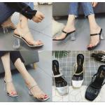 รองเท้าส้นสูง ไซต์ 35-39 สีดำ/เงิน/ทอง
