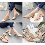 รองเท้าส้นสูงสีชมพู/ครีม ไซต์ 35-39