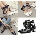 รองเท้าส้นสูง ไซต์ 35-40 สีดำ/ขาว