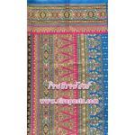 ผ้าพิมพ์ลายไทย P4 (หน้ากว้าง 42 นิ้ว ยาว 2 เมตร) ผ้าพิมพ์พื้นสีฟ้าเข้มสลับสีบานเย็น