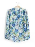 [พร้อมส่ง] T0094 เสื้อชีฟองแขนยาวพิมพ์ลายดอกไม้