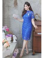 (M)ชุดไปงานแต่งงาน ชุดไปงานแต่ง สีน้ำเงิน Dress ลูกไม้แขนสั้นซีทรูช่วงบน ชุดนี้ทางร้านลูกไม้ฝรั่งเศสเนื้อดีเกรดพรีเมี่ยมที่สั่งทำพิเศษ (ลูกไม้เนื้อหนาทอลายแน่นงานสวยคะ)