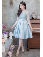 (Size M,XL) ชุดไปงานแต่งงาน ชุดไปงานแต่งสีฟ้า ผ้าไหมบนลูกไม้แขนสามส่วน ชุดนี้ทั้งทรงและคัตติ้งบอกได้คำเดียวว่าเป๊ะ