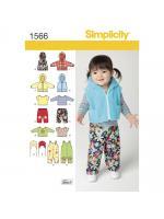 แพทเทิร์นเสื้อกั๊ก เสื้อกันหนาวมีฮูด เด็ก ยี่ห้อ Simplicity (1566) ไซส์ XXS-XS-S-M-L