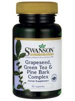 Swanson Grape Seed, Green Tea & Pine Bark Complex 125mg. 60 Caps รวมสุดยอดสารต้านอนุมูลอิสระ ขาวใส ไร้ฝ้า จุดด่างดำ