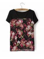 [พร้อมส่ง] T0104 เสื้อคอกลมแขนสั้นผ้าลายดอกไม้