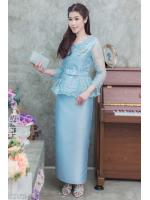 (M,L,XL,2XL) ชุดแม่เจ้าสาว ชุดแม่เจ้าบ่าว ชุดไปงานบุญงานบวชสีฟ้า Set เสื้อลูกไม้คอวี เอวระบายตัวเสื้อทางร้านใช้ผ้าลูกไม้อย่างดีสั่งทำพิเศษ มาพร้อมกระโปรงผ้าไหมอย่างดีสีพื้นทรงสอบผ้าสวยมากๆคะ