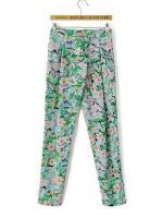 [พร้อมส่ง] BT0030 กางเกงผ้าขายาวพิมพ์ลายดอกไม้เอวหลังสมอค