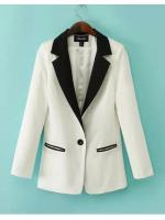[พร้อมส่ง] STW0036 เสื้อสูทเบลเซอร์สีพื้นคอปกดำ