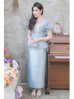 (Size 5XL) ชุดแม่เจ้าสาว ชุดแม่เจ้าบ่าว ชุดไปงานบุญงานบวชสีฟ้า Set เสื้อลูกไม้ระบายแขนสั้น ตัวเสื้อทางร้านใช้ผ้าลูกไม้อย่างดีสั่งทำพิเศษ มาพร้อมกระโปรงผ้าไหมอย่างดีสีพื้นทรงสอบผ้าสวยมากๆคะ