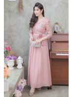 (Size M,L) ชุดไปงานแต่งงาน ชุดไปงานแต่ง สีชมพูกะปิ Maxi Dress ลูกไม้คอวีแขนสามส่วน ชุดนี้ทางร้านใช้ลูกไม้เนื้อดีเกรดพรีเมี่ยม แถมเข็มกลัดดอกไม้