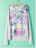 [พร้อมส่ง] T0120 เสื้อสเวตเชิ๊ตแขนยาวด้านหน้าพิมพ์ลายดอกไม้งานสไตล์แบรนด์