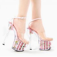 รองเท้าส้นสูงส้นแก้วคริสตัล
