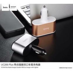 HOCO UC206 Plus Car Charger ที่ชาร์จในรถ USB 2Port + จุดบุหรี่ 2ช่อง แท้