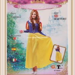 เช่าชุดแฟนซีเจ้าหญิงสโนว์ไวท์ สีน้ำเงินกระโปรงทองสวยมีเสน่ห์ เสื้อแขนยาวแขนตุ๊กตาแดงทอง
