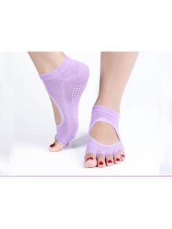 ถุงเท้าโยคะกันลื่น Socks Yoga รุ่นเปิดนิ้วสีม่วงอ่อน