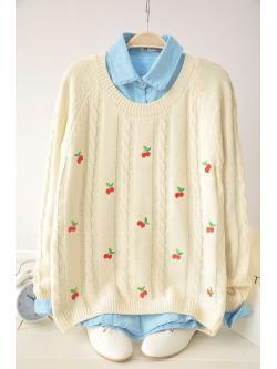 เสื้อกันหนาวไหมพรม จากญี่ปุ่น ปักลายเชอรรี่สุดน่ารัก ( Preorder)