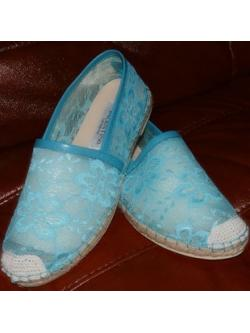 Valentino Lace flat shoes เป๊ะที่สุด สีฟ้า size 40