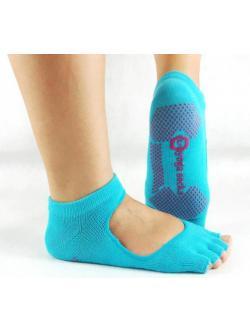 ถุงเท้าโยคะ คุณภาพสูง สีฟ้า รุ่น เปิดนิ้ว เปิดหลังเท้า