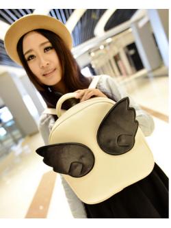 กระเป๋าเป้สะพายหลังมีปีก เวอร์ชั่นเกาหลี สีขาว ปีกสีดำ น่ารักสุด ๆ