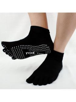 ถุงเท้าโยคะ สีชมดำ