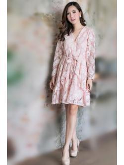 เดรสไซร้ใหญ่ ไปงานผ้าลูกไม้ นืวยอร์ค สีชมพูโอรส สวย หรู อลังมาก
