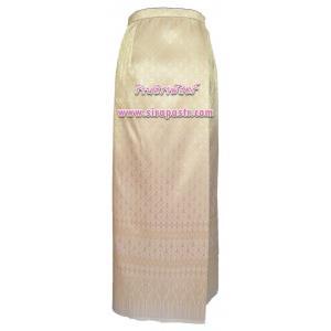 ผ้าถุงป้ายข้างฯ สีครีมทอง (เอวใส่ได้ถึง 32 นิ้ว) *ตรวจสอบรายละเอียดสินค้าในหน้าฯ