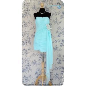 เช่าชุดราตรีสีฟ้าพาสเทล เดรสสั้นเกาะอกทรงหัวใจ ด้านหน้าจับเดรฟ เอวตกแต่งด้วยดอกไม้สีเงินเมทัลลิค 35-28-35