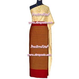 """ชุดไทย N-SB-2 (สไบผ้าเรียบ+ผ้าถุงป้ายฯ เอวใส่ได้ถึง 32"""") *รายละเอียดในหน้าสินค้า"""
